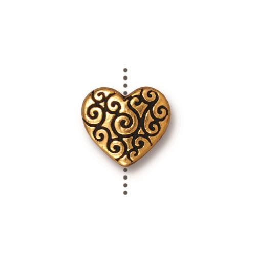 Heart Scroll Bead, Antiqued Gold Plate, 20 per Pack
