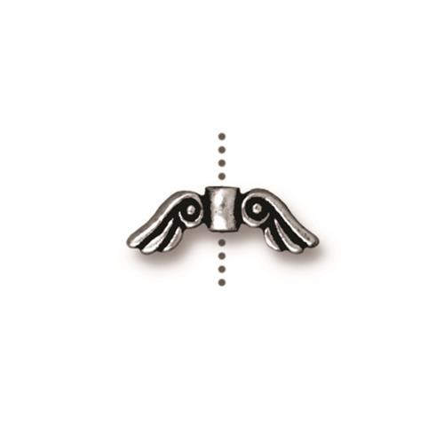 Small Angel Wings Bead, Antiqued Silver Plate, 20 per Pack