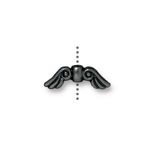 Clearance: Small Angel Wings Bead, Black Plate, 20 per Pack
