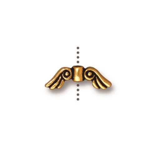 Small Angel Wings Bead, Antiqued Gold Plate, 20 per Pack