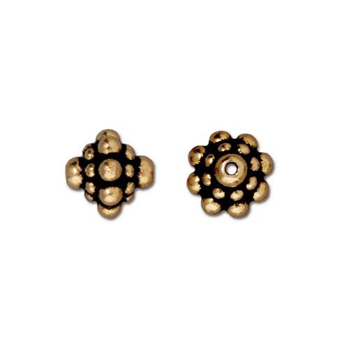 Pamada Bead, Antiqued Gold Plate, 20 per Pack