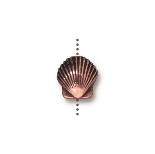 Small Shell Bead, Antiqued Copper Plate, 20 per Pack