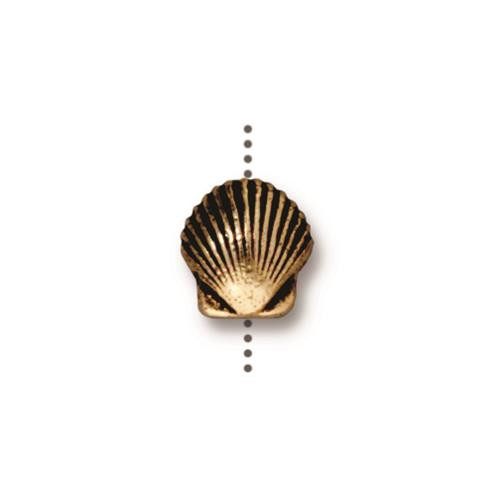 Small Shell Bead, Antiqued Gold Plate, 20 per Pack