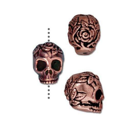 Rose Skull Bead, Antiqued Copper Plate, 20 per Pack