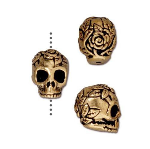Rose Skull Bead, Antiqued Gold Plate, 20 per Pack