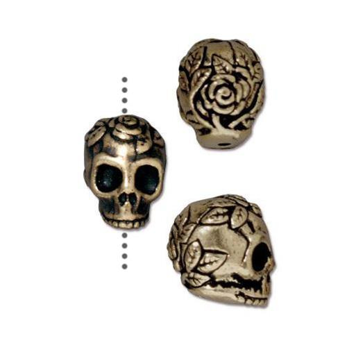 Rose Skull Bead, Oxidized Brass Plate, 20 per Pack