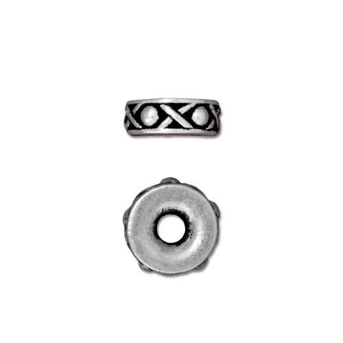 Legend 10mm Large Hole Bead, Antiqued Silver Plate, 20 per Pack
