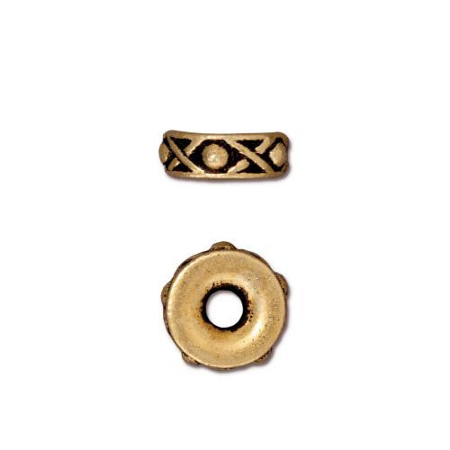 Legend 10mm Large Hole Bead, Antiqued Gold Plate, 20 per Pack