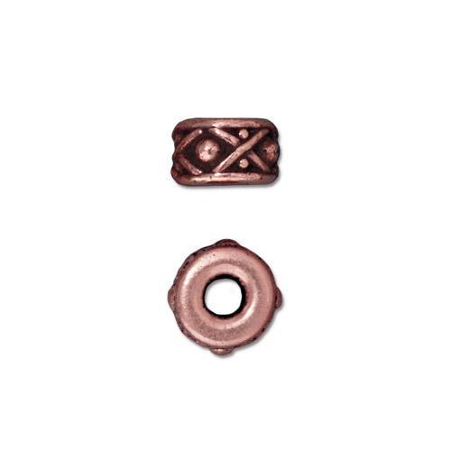 Legend 8mm Large Hole Bead, Antiqued Copper Plate, 20 per Pack