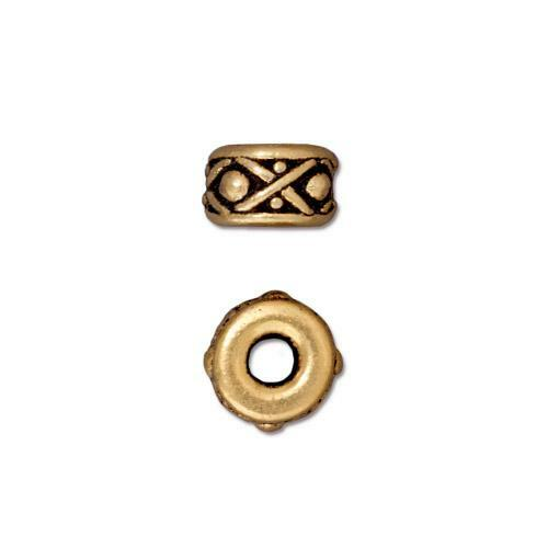 Legend 8mm Large Hole Bead, Antiqued Gold Plate, 20 per Pack