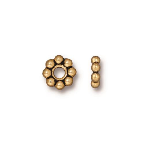 Beaded 8mm Large Hole Bead, Antiqued Gold Plate, 20 per Pack