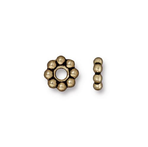 Beaded 8mm Large Hole Bead, Oxidized Brass Plate, 20 per Pack