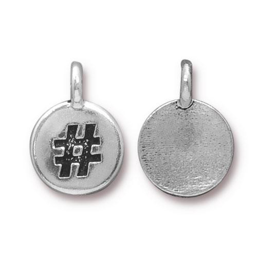 Clearance: Hashtag Charm, Antiqued Silver Plate, 20 per Pack