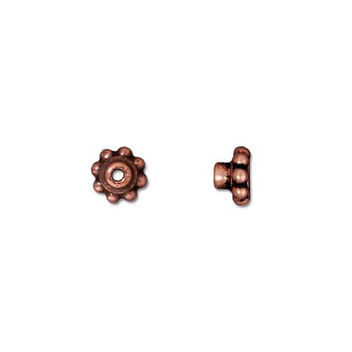 Beaded 5.5mm BeadAligner, 2.5mm Peg, Antiqued Copper Plate, 100 per Pack