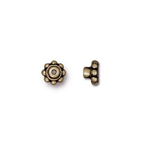 Beaded 5.5mm BeadAligner, 2.5mm Peg, Oxidized Brass Plate, 100 per Pack