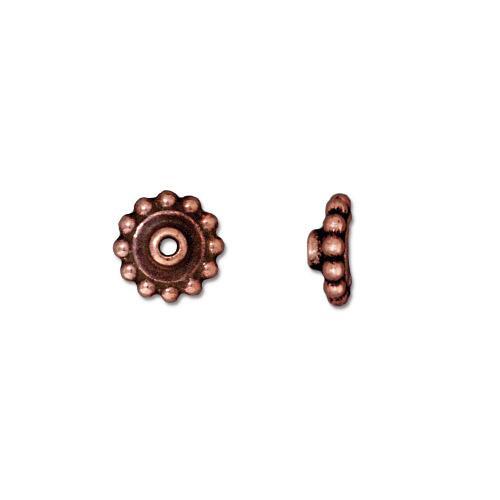 Beaded 8mm BeadAligner, 2.5mm Peg, Antiqued Copper Plate, 50 per Pack