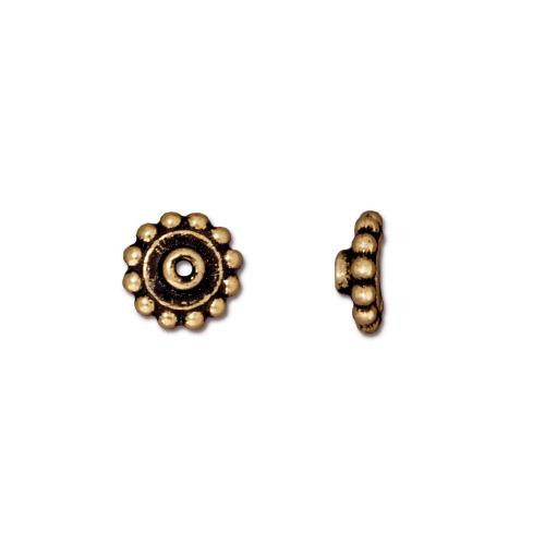 Beaded 8mm BeadAligner, 2.5mm Peg, Antiqued Gold Plate, 50 per Pack