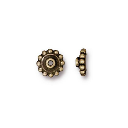 Beaded 8mm BeadAligner, 2.5mm Peg, Oxidized Brass Plate, 50 per Pack