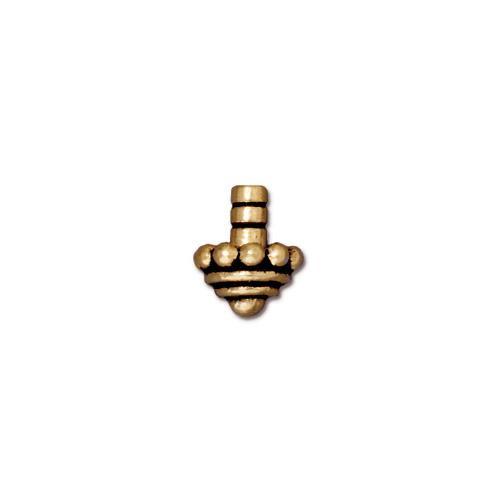 Beaded Glue-in Bead Cap, Antiqued Gold Plate, 20 per Pack