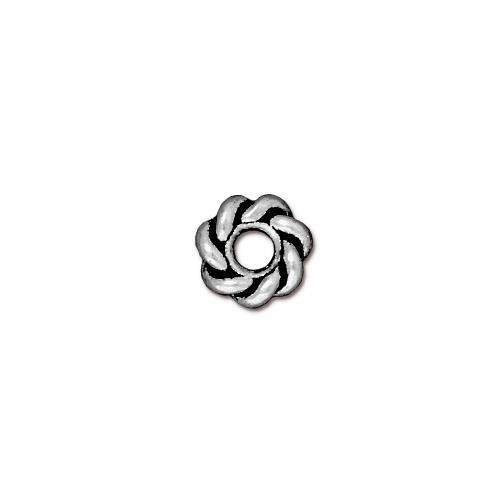 Twist 8mm Large Hole Bead, Antiqued Silver Plate, 20 per Pack