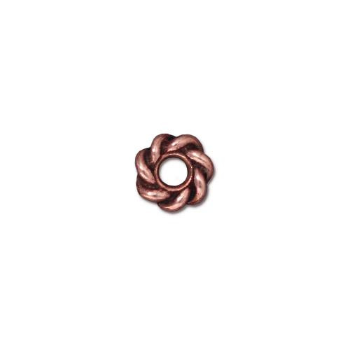 Twist 8mm Large Hole Bead, Antiqued Copper Plate, 20 per Pack