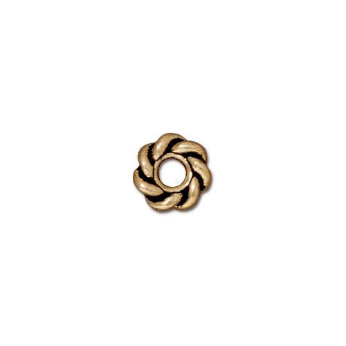 Twist 8mm Large Hole Bead, Antiqued Gold Plate, 20 per Pack