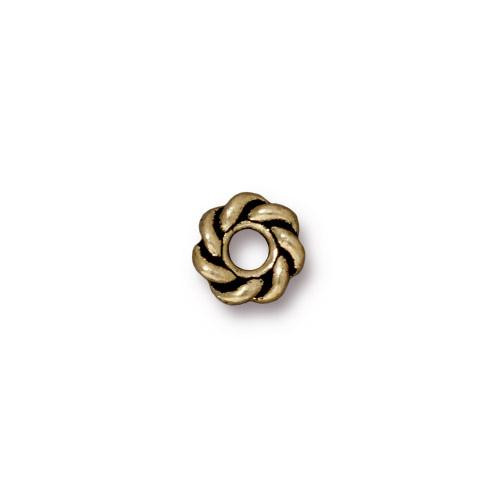 Twist 8mm Large Hole Bead, Oxidized Brass Plate, 20 per Pack