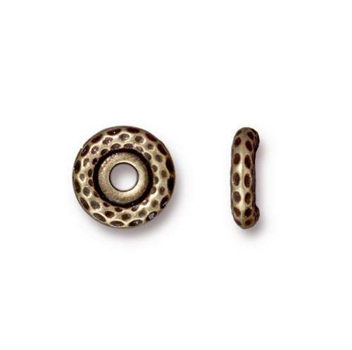 Hammertone 10mm Large Hole Bead, Oxidized Brass Plate, 20 per Pack