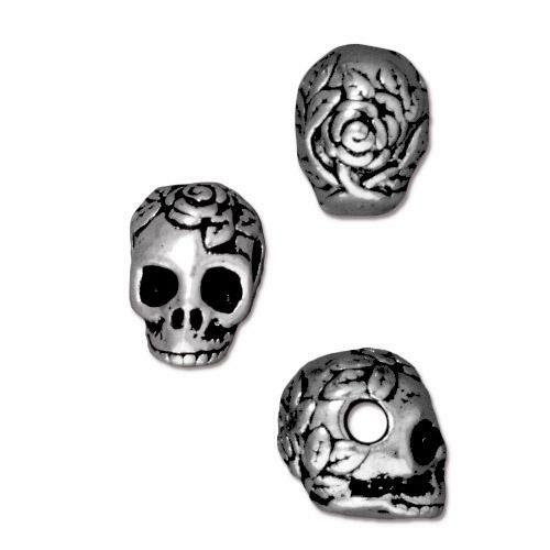 Skull Large Hole Bead, Antiqued Silver Plate, 20 per Pack