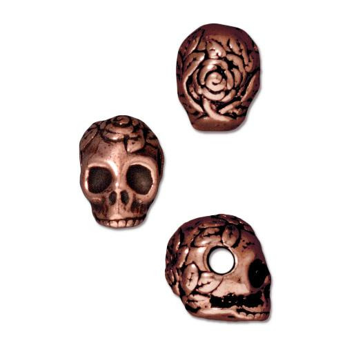 Skull Large Hole Bead, Antiqued Copper Plate, 20 per Pack