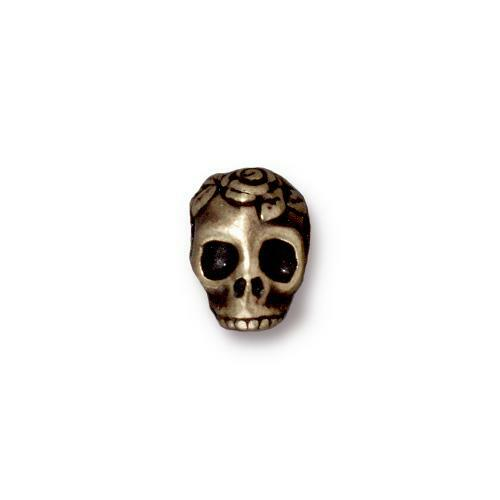 Skull Large Hole Bead, Oxidized Brass Plate, 20 per Pack