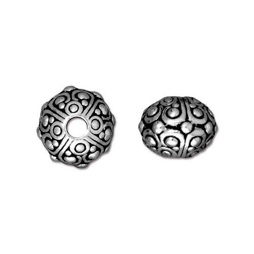 Oasis 10mm Large Hole Bead, Antiqued Silver Plate, 20 per Pack