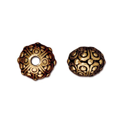 Oasis 10mm Large Hole Bead, Antiqued Gold Plate, 20 per Pack