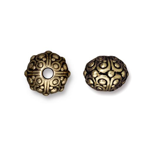 Oasis 10mm Large Hole Bead, Oxidized Brass Plate, 20 per Pack