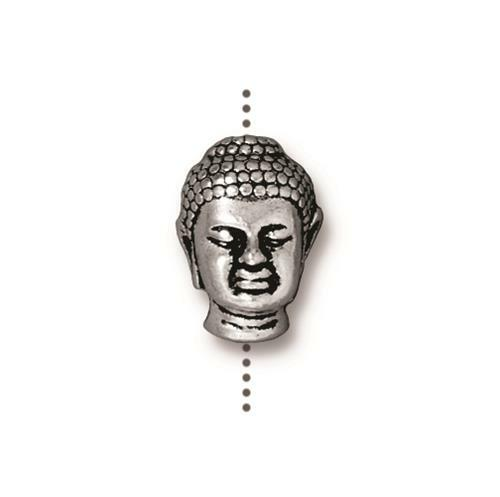 Buddha Large Hole Bead, Antiqued Silver Plate, 20 per Pack