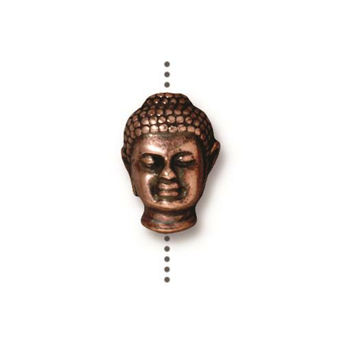Buddha Large Hole Bead, Antiqued Copper Plate, 20 per Pack