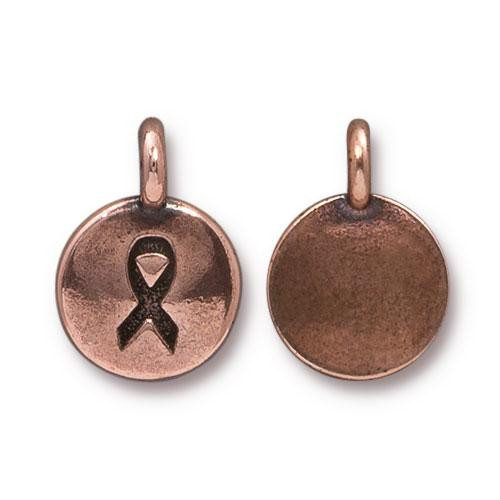 Ribbon Charm, Antiqued Copper Plate, 20 per Pack