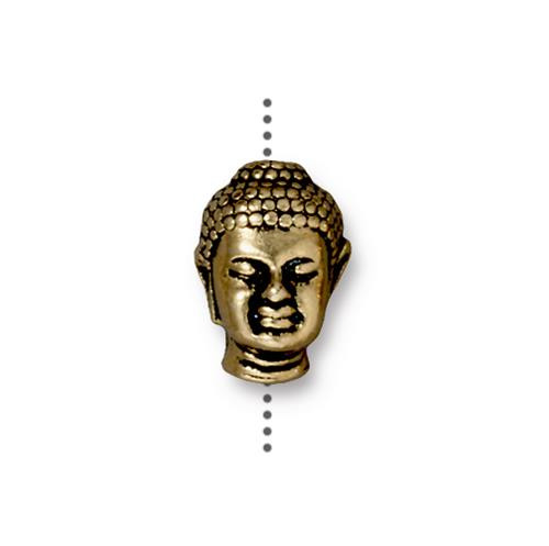 Buddha Large Hole Bead, Antiqued Gold Plate, 20 per Pack