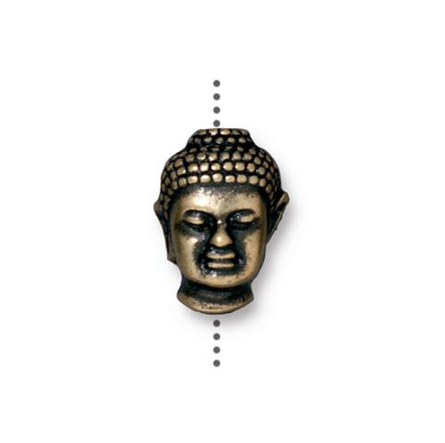 Buddha Large Hole Bead, Oxidized Brass Plate, 20 per Pack