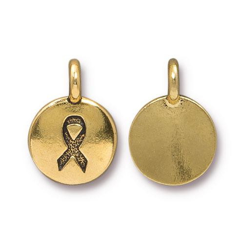 Ribbon Charm, Antiqued Gold Plate, 20 per Pack