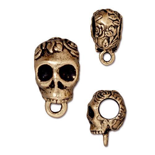Skull Bail Large Diameter, Antiqued Gold Plate, 20 per Pack