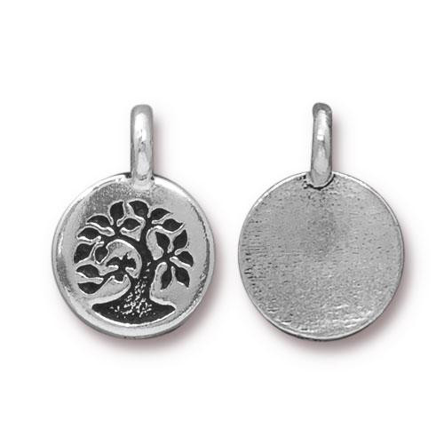 Tree Charm, Antiqued Silver Plate, 20 per Pack