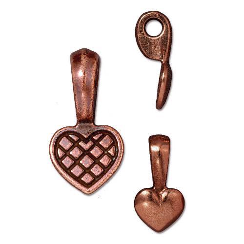 Heart Glue-on Pad, Antiqued Copper Plate, 20 per Pack