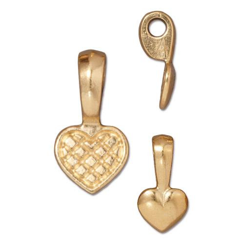 Heart Glue-on Pad, Gold Plate, 20 per Pack