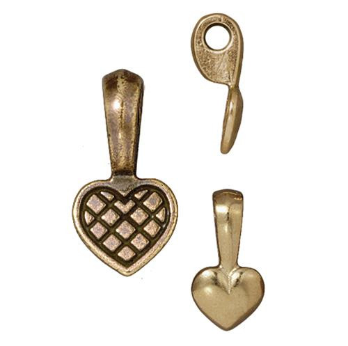 Heart Glue-on Pad, Oxidized Brass Plate, 20 per Pack