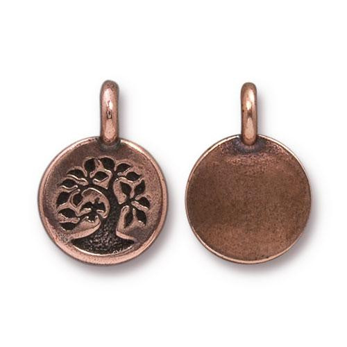 Tree Charm, Antiqued Copper Plate, 20 per Pack