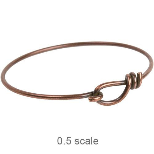 Wire Bracelet with hook opening in 12 gauge wire, Antiqued Copper, 5 per Pack
