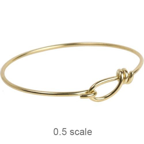 Wire Bracelet with hook opening in 12 gauge wire, Bright Brass, 5 per Pack
