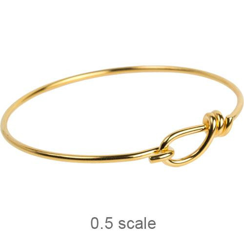 Wire Bracelet with hook opening in 12 gauge wire, Gold Plate, 5 per Pack