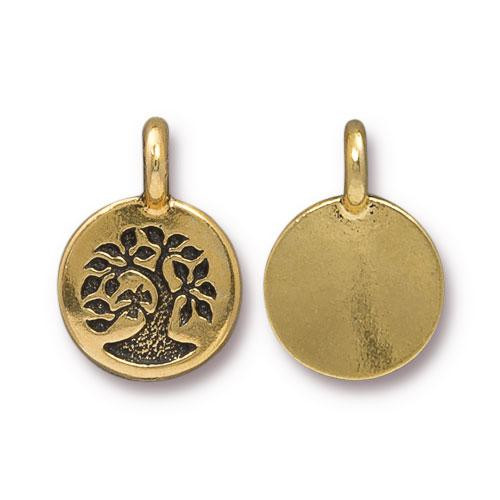 Tree Charm, Antiqued Gold Plate, 20 per Pack